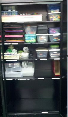 Before and After Pictures - Organization ~ Supply Cabinet! How To Organize Your Supply Cabinet When Someone Leaves You a lot of Junk and in Less Than Two Hours! #BacktoSchool