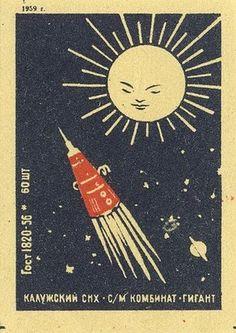 Vintage Russian matchbox label