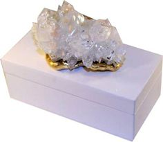 White Lacquer Box with Apophyllite Cluster