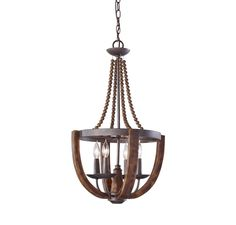 Feiss Adan 4-Light Chandelier in Rustic Iron and Burnished Wood Finish in Ceiling Lights, Chandeliers, Indoor Chandeliers: LeeLighting.com