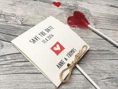 Einladungskarten - SAVE THE DATE Karte inkl.Lollies - ein Designerstück von Kunstundtext bei DaWanda
