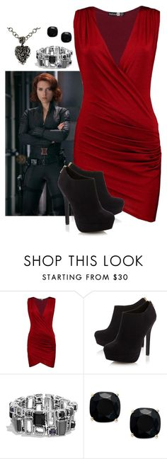 """""""Natasha: Draped dress"""" by holly-the-fangirl ❤ liked on Polyvore featuring Boohoo, Head Over Heels by Dune, David Yurman, Kate Spade and Metal Couture"""