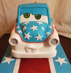 Made this large mater the greater cake for my sons birthday after his latest obsession with cars. Disney Cars Cake, Disney Cakes, Disney Pixar Movies, Cake Shapes, Sculpted Cakes, Crazy Cakes, Diy Cake, Gum Paste, Cakes And More