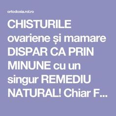 CHISTURILE ovariene și mamare DISPAR CA PRIN MINUNE cu un singur REMEDIU NATURAL! Chiar FUNCȚIONEAZĂ | ROL.ro Health And Wellness, Health Tips, Health Fitness, Healthy Life, Healthy Living, Alter, Good To Know, Natural Remedies, Healing