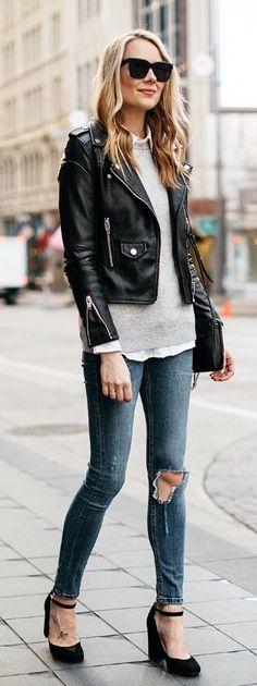 #winter #fashion /  Black Leather Jacket / Grey Knit / Destroyed Skinny Jeans / Black Pumps