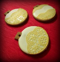 Christmas bauble cookies decorated with golden edible lace