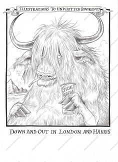 Chris Riddell. Black ink. Riddell's style leans towards caricatures of people and animals, with his animals sometimes taking on human characteristics such as this one. Some of his compositions are quite portraiture, with the background giving hints as to the back story of the characters