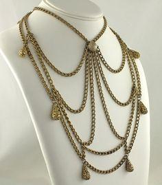 Vintage Coro Spider Web Necklace  Gold Tone by slapmefabulous, $125.00