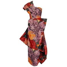 Preowned 1950's Couture Watercolor Floral Print Silk One-shoulder... (€1.640) ❤ liked on Polyvore featuring dresses, gowns, multiple, red carpet evening gowns, corset dress, red dress, red gown and one shoulder gown