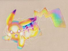 Pikachu by opalchan on DeviantArt! This colored pencil pikachu drawing is so colorful and amazing!