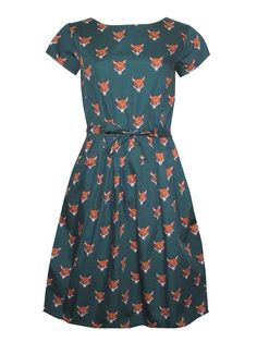 Run & Fly Green Fox Head Dress - Dresses - Clothing green printed Quirky Fashion, Retro Fashion, Vintage Fashion, Modest Fashion, Pretty Outfits, Pretty Dresses, Stylish Outfits, Fall Outfits, Vetements Clothing