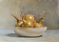 daily painting titled Onions in a white bowl - click for enlargement