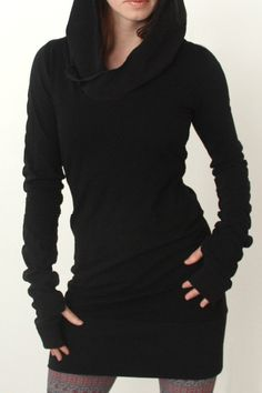 Black Hooded Long Sleeve Dress. I would wear this with leggings