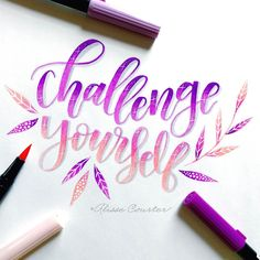 challenge yourself💖💜 a few days late for with and 🌸 Hand Lettering Art, Doodle Lettering, Creative Lettering, Brush Lettering, Lettering Design, Handwritten Quotes, Calligraphy Quotes, Calligraphy Alphabet, Bullet Journal Art