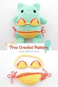 This Kitten pattern is fun to make and share, perfect for those cat days of summer. Kitten is made in an amigurumi style with a cute two-piece bikini to finish off her look. I named my kitten Lola, what will you name yours? Crochet Birds, Crochet Bear, Cute Crochet, Crochet Food, Crochet Animals, Crochet Patterns Amigurumi, Crochet Dolls, Knitted Dolls, Amigurumi Toys
