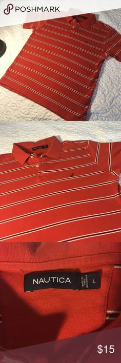 Nautica  Stripe Polo Shirt Size L x excellent used condition x all buttons no rips no stains x great polo for a golf game x 100 cotton Nautica Shirts Polos