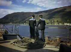Two ratings on the deck of HMS FORTH at Holy Loch, Scotland, 1942.