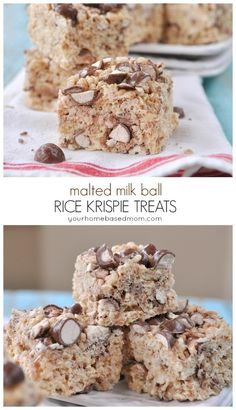 Malted Milk Ball Rice Krispie treats are a fun way to mix it up. Love the flavor the malted milk powder adds! Just Desserts, Delicious Desserts, Dessert Recipes, Yummy Food, Fudge Recipes, Popcorn Recipes, Bar Recipes, Milk Recipes, Candy Recipes