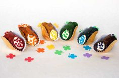 Rainbow Colored Cannoli for St. Patrick's Day! #overtherainbow #stpatricksday