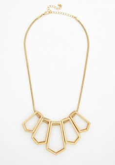 Symmetrics of the Trade Necklace. You know a thing or two about snazzy style - which you demonstrate to polished perfection in this dazzling necklace. #gold #prom #modcloth