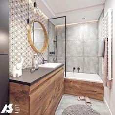 Łazienka o powierzchni 5 mkw z ukrytą pralką 💕 Projekt @alicja_szmal_studio 👌🏻 _____ #homebook #homedecor #homedesign #homeinspiration…