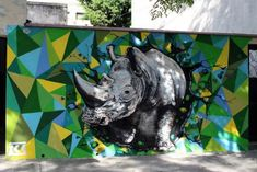 Hyper-realistic rhino in Coghlan painted by Ice   © Buenos Aires Street Art