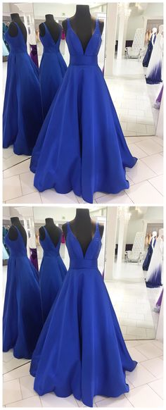 Simply V Neck Royal Blue Long Prom Dress P1258 #promdress #promdresses #hiprom #prom #GraduationDress #2018 #PartyDress #royalblueprom