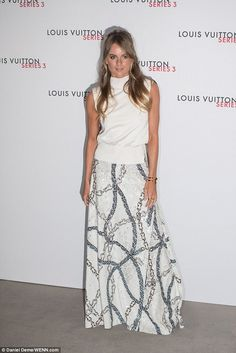 Cressida Bonas looked ethereal in white at the Louis Vuitton series 3 gala opening in Lond...