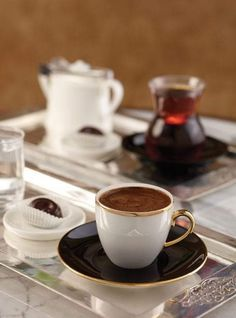 Turkish coffee served with chocolate, if desired. According to the desire to continue drinking the tea :)) But First Coffee, I Love Coffee, Black Coffee, Coffee Break, My Coffee, Morning Coffee, Sweet Coffee, Café Chocolate, Chocolate Brands