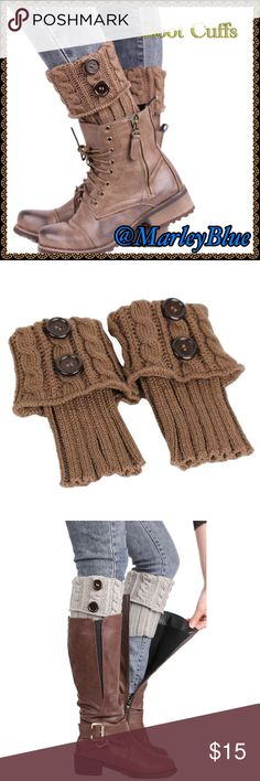 🆕Button Cuffed Tan Boot Cuffs Very on trend. Color is tan/khaki.  Can wear cuffed or straight for 2 variations on look. Great with short or long boots. Perfect for the look of boot socks without all the bulk. Color is close to first 2 photos. Last 2 photos are just for example of style. Price is firm.  Bundle with other items from my closet to save 20%. Thanks for looking and feel free to ask questions 😊 Accessories Hosiery & Socks