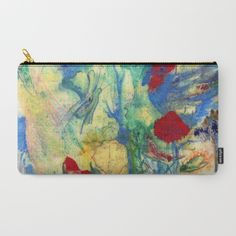 Fairy with Red Flowers Carry-All Pouch by crismanart Red Flowers, Pouches, Carry On, Fairy, Pastel, Illustration, Painting, Cake, Hand Luggage