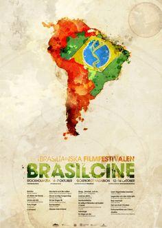 Brasilcine - #Flyer dans un style #grunge #watercolor