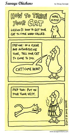 How To Train Your Cat 3 Cartoon   Savage Chickens - Cartoons on Sticky Notes by Doug Savage