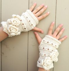 Rose Onie Fingerless gloves Ivory hand warmers by IntricateKnits, $45.00