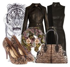 """Tiger Lady"" by lullulu on Polyvore featuring Jane Lee McCracken, Roberto Cavalli, Gucci, Thierry Mugler, Nine West and Fendi"