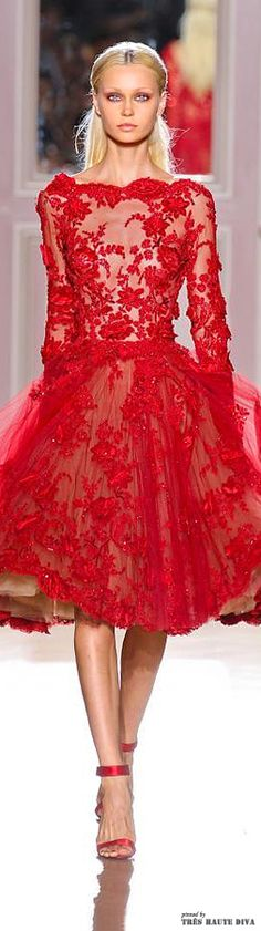 Zuhair Murad F/W 2012-13 Couture Red Lace Cocktail Dress