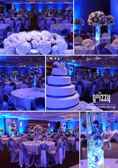 Blue New Year's Eve Wedding!   Silver, White and Blue!   GoIzzy Custom Event Design