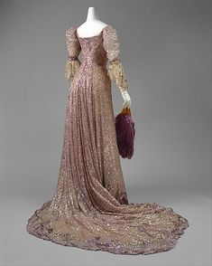 Henriette Favre Haute Couture evening beaded gown from 1902 French. Made from silk and sequins and paillette.