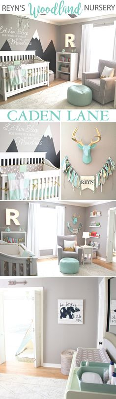 This adorable mint & gray baby boy woodland nursery design is so fun! - click through to find out all the details Gray Nursery Boy, Boy Nursery Colors, Woodland Baby Nursery, Mint Nursery, Grey Baby Rooms, Navy Mint Gray Nursery, Nursery Room Ideas, Baby Nursery Ideas For Boy, Baby Lamb Nursery