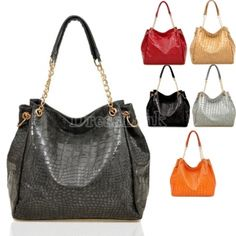 Womens Snake Pattern Metal Chain Handbag/ Shoulder Bag