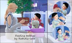 Feeding toddler posepack at Rethdis-love Sims 4 Couple Poses, Couple Posing, Sims 4 Toddler, Sims 4 Update, Sims Cc, Baby Strollers, Crochet Hats, Children, Spoon