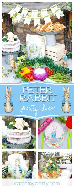 Don't miss this wonderful Spring Peter Rabbit themed party! The vegetable centerpieces are so cool!! See more party ideas and share yours at CatchMyParty.com #catchmyparty #partyideas #peterrabbit #beatrizpotter