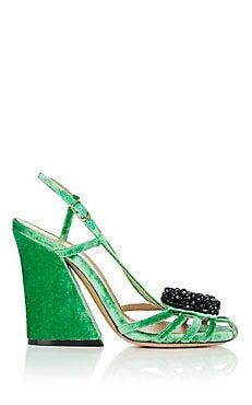 Embellished Velvet Slingback Sandals