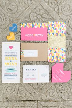Eclectic and Colorful Geometric Wedding Invitation Suite | Photo by: Amalie Orrange Photography via The Every Last Detail | Stationery by: Renee Nicole Design #geometric #weddinginvitation #stationery