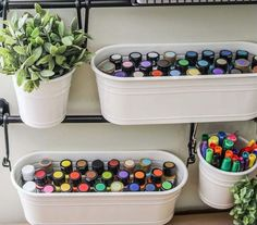 IKEA Buckets for Craft Room Storage. The IKEA Fintorp series of buckets and hooks turned out to be the perfect and pretty organization idea for any craft room! room ideas Craft Room Organization & Storage Ideas - For Creative Juice Craft Room Storage, Craft Organization, Craft Rooms, Organizing Ideas, Diy Storage, Bedroom Storage, Storage Design, Hidden Storage, Creative Storage