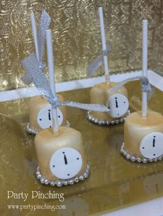 Gold New Year's party marshmallow pops!  See more party planning ideas at CatchMyParty.com!