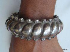 Tribal silver bangle bracelet, Rajasthan, India