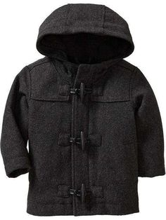 26226cbcc0a Old Navy Hooded Gray Wool Blend Toggle Boys Winter Toddler Coat 24 months.  Toggle covers over the zipper. fleece lined body. polyester