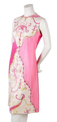 A pink geometric Pucciesque hot pink and lime print dress, 1960s.