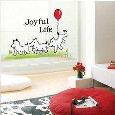 Kids Bedroom Puppy Dog Joyful Life Art Mural Wall Decals